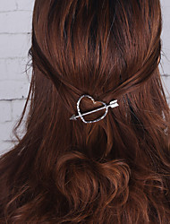 Women Simple Fashion Zircon Lovely Heart Girls Hair Clips Barrettes Alloy Hair Accessories 1pc