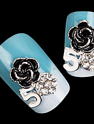 Lovely Mental Color Diamond AB Drill Rose Nail Jewelry (5Pcs)