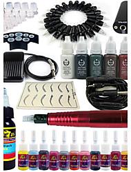solong Tätowierung Dreh Tattoo-Maschine&Permanent Make-up Stift 20 Nadel Patronen Tintenset Netzteil Fußpedal ek101-2