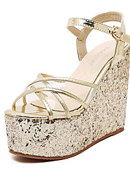 Women's Shoes Leatherette Wedge Heel Wedges / Heels Sandals Outdoor / Casual Silver / Gold