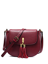 NAWO Women Cowhide Shoulder Bag / Tote Burgundy-N154431