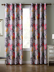 Chadmade SOFITEL Heat Tranfer Print Flower Leopard Pattern - Lined Curtain Panel Drapes - Teal + Pink
