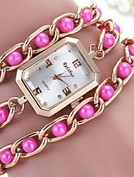 Women's Fashionable Leisure Pearl Bracelet Winding  Rectangle Dial Watch Cool Watches Unique Watches