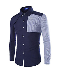 Men's Striped / Patchwork Casual Shirt,Cotton Long Sleeve Blue / Yellow