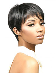Capless Women Short Side Bang Straight Synthetic Hair Wigs Black with Free Hair Net