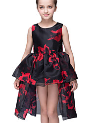Girl's Black Dress Polyester Summer