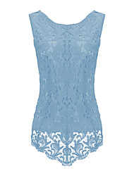 Women's Patchwork Lace Chiffion Plus Size Large Size Fashion All Match Casual Tanks,Round Neck Sleeveless