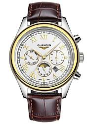 GUANQIN® Top Grade Sport Men Japanese Quartz Waterproof Sapphire Calendar Luminous Moon Phase Leather 38mm Wrist Watch Cool Watch With Watch Box