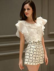 Comparer les combinaisons blanches de dabuwawa femmes, travail / occasionnel / jour col rond manches courtes