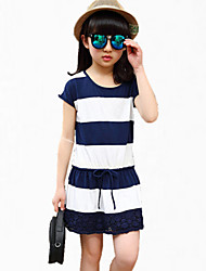 Girl's Blue / Red Dress Cotton Summer