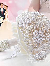 """Bouquets de Noiva Redondo Rosas Buquês Casamento Festa / noite Poliéster Cetim Renda Enfeite Espuma Crostal Strass Metal 7.87""""(Aprox.20cm)"""