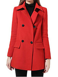 Women's Solid Red Coat,Simple Long Sleeve Nylon
