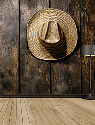 3D Shinny Leather Effect Large Mural Wallpaper Retro Straw Hat And Board Art Wall Decor Wall Paper