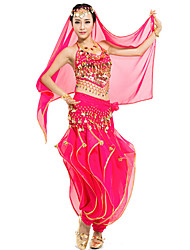 Shall We Belly Dance Outfits Women 4 Pieces Pants/Top/Veil/Hip Scarf
