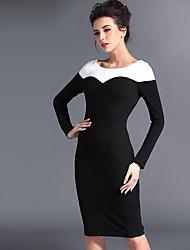 Baoyan® Women's Bateau Long Sleeve Above Knee Dress-120110