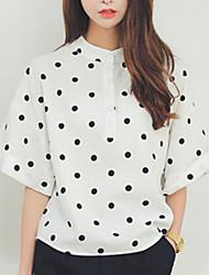 De las mujeres A Lunares Camisa-Escote Chino-Algodón-Manga Corta