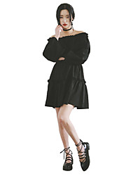 Women's Street chic Solid Little Black Dress,Off Shoulder Mini Cotton