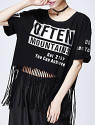 Ronde hals-Polyester-Kwastje-Vrouwen-T-shirt-Korte mouw