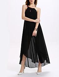 Women's Simple Solid Chiffon Dress,Halter Maxi Polyester