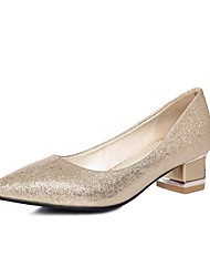 Women's Shoes Glitter/Chunky Heel/Pointed Toe Heels Office & Career/Dress Red/Silver/Gold