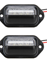 2PCS Universal Truck/Motorcycle LED License Plate Lamp 12V 6W LED with Special LED Decorder