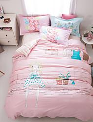 Little girl print duvet cover Sets 100% Cotton Bedding Set Queen/Double/Full Size