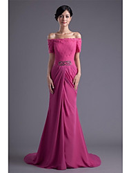 Formal Evening Dress - Elegant Trumpet / Mermaid Bateau Sweep / Brush Train Chiffon Lace with Appliques Beading Lace