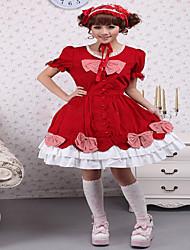 Gothik / Niedlich / Klassische & Traditionelle Lolita / Punk Kurzarm Kürzer Länge Rot Baumwolle / Spitze Lolita Kleid