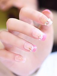 24pcs / set unhas falsas falsas unhas terminou manicure unhas dicas forma do amor-de-rosa
