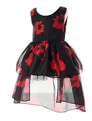 Girl's Black Dress Polyester Summer / Spring