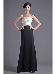 Formal Evening Dress - Color Block Trumpet / Mermaid Strapless Floor-length Satin with Draping Pleats