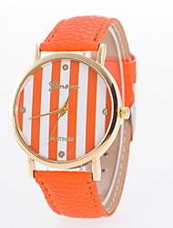 Damen Modeuhr Quartz Leder Band Streifen Schwarz / Weiß / Blau / Rot / Orange / Braun / Rosa / Rose Marke-