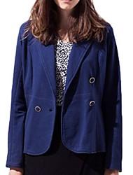Women's Solid Blue Blazer,Street chic Shirt Collar Long Sleeve