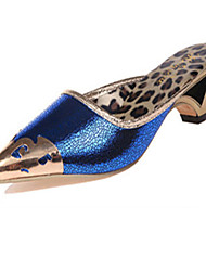 Women's Shoes Leatherette Low Heel Slingback / Slippers Slippers Wedding / Party & Evening / Dress Black / Blue / Gold