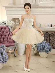 Cocktail Party Dress-Champagne Ball Gown Sweetheart Short/Mini Chiffon / Lace