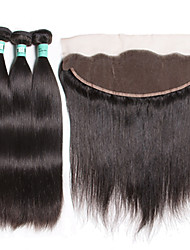 3 Bundles Indian Virgin Hair Straight with 13X4 Lace Frontal Closure Unprocessed Human Hair Weaves with Lace Frontal
