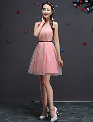 Short / Mini Tulle Bridesmaid Dress A-line Strapless with Sash / Ribbon