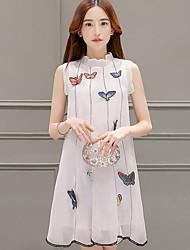 Women's Vintage / Street chic Pleated Print Sweet Elegance Fashion Slim Loose Dress,Crew Neck Above Knee