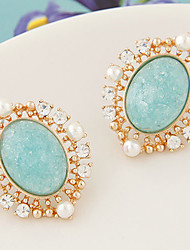 Stud Earrings Fashion European Gemstone Resin Rhinestone Alloy Beige Blue Blushing Pink Jewelry For 2pcs