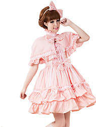 Outfits Sweet Lolita Lolita Cosplay Lolita Dress Pink Solid Short Sleeve Medium Length Dress / Shawl For Women Cotton