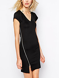 Women's Simple Solid Little Black Dress,V Neck Mini Cotton