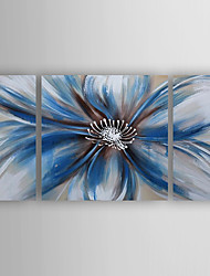 Oil Painting Bule Flowers Set of 3 Hand Painted Canvas with Stretched Framed Ready to Hang