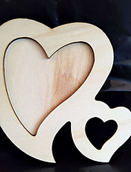 1X Double Heart White Base Wood Picture Frame Hand DIY Wood Photo Frame