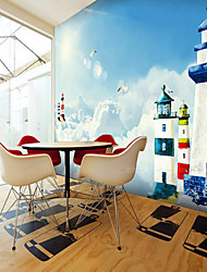 Shinny Leather Effect Large Mural Wallpaper Cartoon Clouds And Lighthouse Art Wall Decor Wall Paper