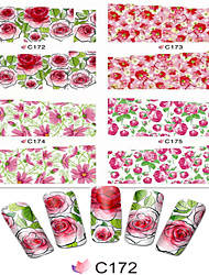 1pcs  Nail Art Water Transfer Stickers Colorful Image Flower Design C172-179