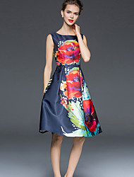 Women's Simple Print A Line Dress,Round Neck Knee-length Polyester