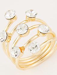 Women's European Style Fashion Shiny Rhinestone Concise Sweet Band Ring