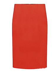 Women's Solid Knee-length Skirts, Roman Knit Stretchy