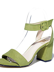 Damen-High Heels-Lässig-Vlies-Blockabsatz-Absätze-Schwarz / Grün / Grau