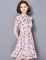 2016 Summer Women Temperament Women Collar Slim Chiffon Dress